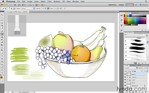 Photoshop CS5 Bristle Brush Tips Video Tutorial - Working With The New Bristle Brush Tips In Photoshop CS5