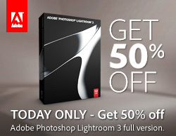 save 50% off the standard price of Adobe Photoshop Lightroom 3