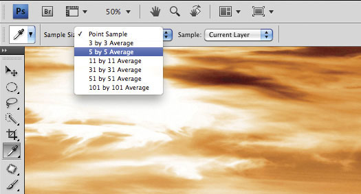 "How to sample an ""average"" colour for a blend of the surrounding hues using the Eyedropper tool in Photoshop"