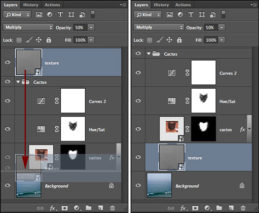 Repositioning Layer Stacking Order in Photoshop