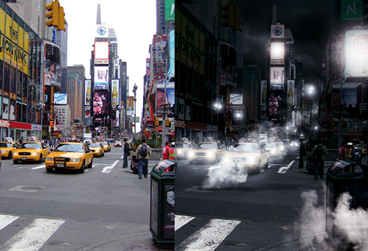free Photoshop tutorial on making a steamy street scene